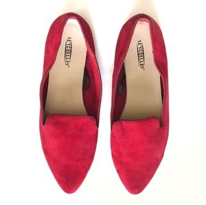 Seychelles Suede Pointed Flats in Red Size 10